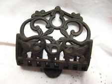 Early Ornate Victorian Cast Iron Match Safe Holder Kitchen Wall Fireplace B