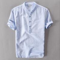 Men's Linen Cotton Short Sleeve Shirts Casual Summer Slim Fit Thin Holiday Shirt