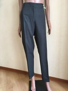 CAROLINA HERRERA Gray Wool High Waist Cropped Pants