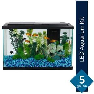 NEW 5 Gallon Fresh Water Glass Fish Tank Aquarium Starter Kit with LED Lighting