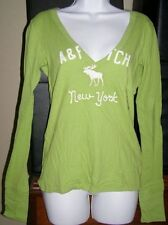 Abercrombie Women M LS Lime T-Shirt NEW/tags Was $40 LG Moose Icon, applique