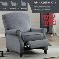 Velvet Recliner Chair Living Room Padded Comfortable Sofa with Overstuffed Seat