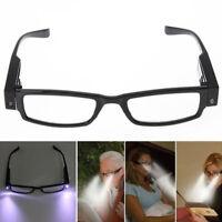 Unisex Women Men Lights Reading Night Vision Glasses With 2Leds Lamp Sunglasses