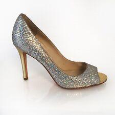 6M Silver Glitter Snakeskin Peep Toe Gold Stiletto Heels Enzo Angiolini Retro
