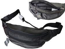 Bauchtasche Gürteltasche Leder Sporttasche Schwarz 4 Fächer LK525