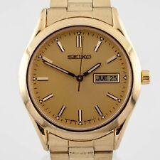 Seiko Men's Gold-Plated Quartz Day-Date (Spanish) Watch 7N43-9070