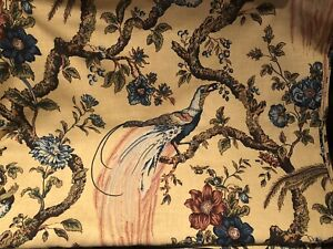 TWO Drape Curtain Panels/Fabric-WAVERLY OLANA BAY LEAF PHEASANT GOLD-80x48 Each