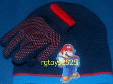 Super Mario Beanie Hat & Gloves Cold Weather Combo set Made 2011 size Child