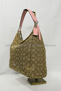 Coach F58327 Celeste Convertible Hobo/Shoulder/Crossbody Bag Khaki / Blush Pink