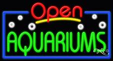 "NEW ""OPEN AQUARIUMS"" 37x20x3 BORDER REAL NEON SIGN W/CUSTOM OPTIONS 15448"