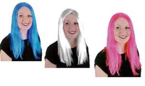 """16"""" STRAIGHT COLOUR WIG BLUE PINK WHITE LADIES FANCY DRESS COSPLAY HEN PARTY WIG"""
