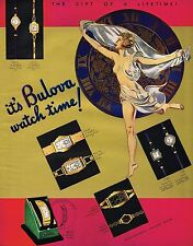 1930s BIG Original Vintage Bulova Watch Sign Female Nude Lady Art Deco Print Ad