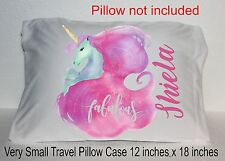 New Unicorn Small Travel Pillow Case Personalized Name Pink Green Water Color