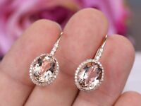 3Ct Oval Cut Morganite Diamond Drop/Dangle Earrings Solid 14K Rose Gold Finish