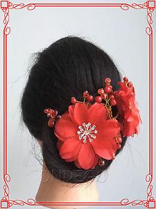 ivory rot Haarschmuck Haarblume Haargesteck Hochzeit Blume Brautfrisur Braut
