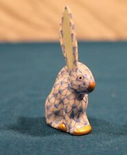 Herend Rabbit Bunny One Ear Up Blue White Fishnet 24k Gold VH-05338 Hungary