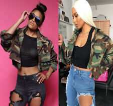 Women Bomber Jacket Coat Long Sleeves Casual Camouflage Clubwear Outwear Size