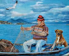 dipinto pescatore marina cane vesuvio mare golfo napoli naples fisherman olio