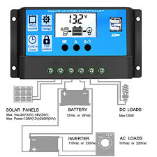 10A PWM Solar Charge Controller 12V/24V Auto Battery Charger Regulator From USA