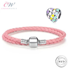 Rainbow Heart Charm & Pink Leather Charm Bracelet 925 Sterling Silver 💞