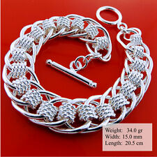 Bracelet Bangle 925 Sterling Silver SF Solid Ladies Antique Link Tbar Design