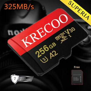 Neu 64GB/128GB/256GB Micro SD Speicherkarte 325MB/S TF-Karte Class10 mit Adapter