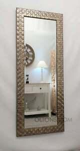 John Lewis Full Length Wall Mirror Mosaic Wood Frame Champagne Silver 132x46cm