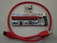 PCIe Express Riser x1 to x16 with USB 3.0 cable with SATA Molex PCIe Power Plugs