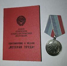 Original USSR Russian Veteran Of Labour Medal+document