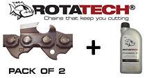 """14"""" ROTATECH Chainsaw Chain x2 CHAINS For McCULLOCH 7-38 738 + 1L Chain Oil"""