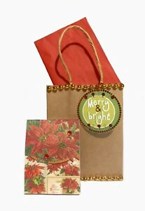 Punch Studio 66396 Gold Foil And  Gem Embellished Notepad Poinsettias Best Xmas