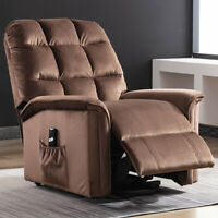 Electric Power Lift Recliner Chair Soft Padded Velvet Upgraded Motor for Eldly