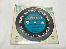"""Vintage Alfred E. Neuman Mad Magazine Record """"Fink Along With Mad"""" 33 1/3rpm"""