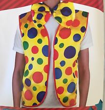 Adult CLOWN VEST & BOW TIE Set Kit Costume Fancy Circus Jester New