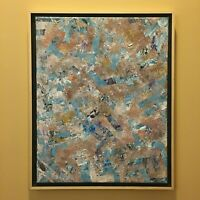 Tan and blue abstract original modern acrylic canvas painting 16x20 Ships Free