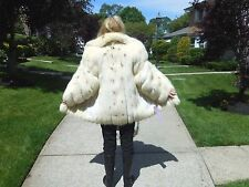 """"""" SAGA """"SPOTTED WHITE FOX FUR JACKET WITH DIRECTIONAL SLEEVES SIZE SM/MED"""