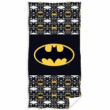 Batman Logo Beach Bath Towel Black 100 Cotton Kids Boys Childrens 140cm X 70cm