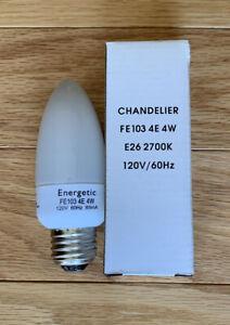 Energetic Chandelier Bulb LED 4W FE103  2700k E26 120v/60 Hz White Lot Of 8