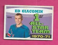 1971-72 OPC # 250 RANGERS ED GIACOMIN  AS GOOD CARD  (INV# C7600)
