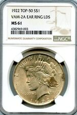 C7712- 1922 VAM-2A EARRING LDS TOP 50 PEACE DOLLAR NGC MS61