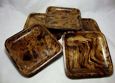 SET OF 5 PCS COASTERS MANGO WOODEN NATURAL WOOD COFFEE CUP SAUCERS