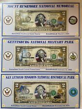 Lot Of 3 - Atb Enhanced $2 Bill Collection - Mount Rushmore Gettysburg S Antonio