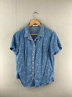 Cape Womens Blue Denim Collared Short Sleeve Front Button Up Shirt Size Medium