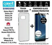 Clear Case Cover + Glass Screen Protector For Samsung Huawei Apple iPhone Phones