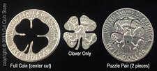 Lucky Golf Ball Marker Good Luck Four 4-Leaf Clover Cut Coin 50¢ USA Half Dollar