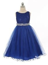 New Royal Blue Flower Girls Dress Easter Pageant Wedding Christmas Party Baby