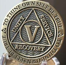 5 Year AA Medallion Reflex Antique Chocolate Bronze Sobriety Chip Coin