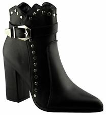 Ladies Womens Ankle Boots Casual Block Heel Inside Zip Shoes Size