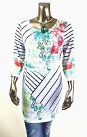 CHICO'S $75 NEW ZENERGY MULTI ABSTRACT FLORAL 3/4-SLV TUNIC TOP SIZE 1 ( M )