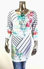 CHICO'S $75 NEW ZENERGY MULTI ABSTRACT FLORAL 3/4-SLV TUNIC TOP SIZE 2 (L)